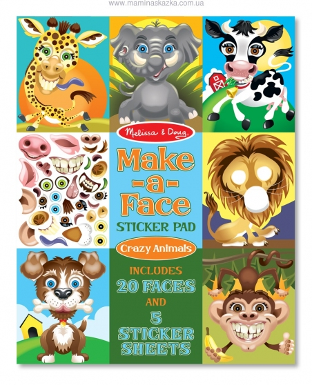Make-a-Face Sticker Pad - Crazy Animals (Набор наклеек