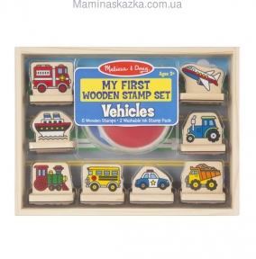 My First Wooden Stamp Set - Vehicles (Мои первые штампы